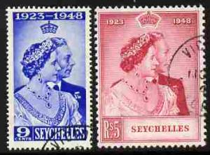 Seychelles 1948 KG6 Royal Silver Wedding perf set of 2 cd...