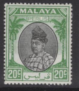 MALAYA PERLIS SG18 1951 20c BLACK & GREEN MTD MINT