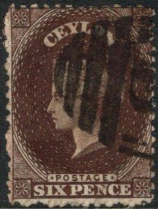 CEYLON-1869 6d Deep Brown Sg 67 GOOD USED V50125