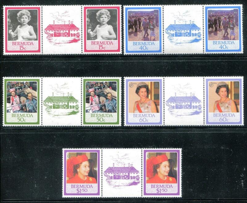 Bermuda 499-503 MNH Gutter pair Queen Elizabeth II, 60th birthday  x13711