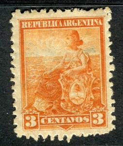ARGENTINA;  1899 early Liberty issue fine Mint hinged 3c. value