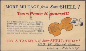 #UX27 Used 1934 w SHELL GAS ADVERTISEMENT on reverse depicts shell-shaped record