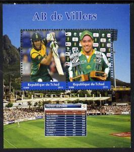 Chad 2015 AB de Villers (cricketer) perf sheetlet contain...