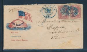 ILLINOIS CIVIL WAR PATRIOTIC COVER FLAG ON GLOBE BU6429