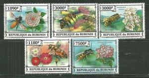 Burundi MNH Set Of 5 Bees & Flowers 2013