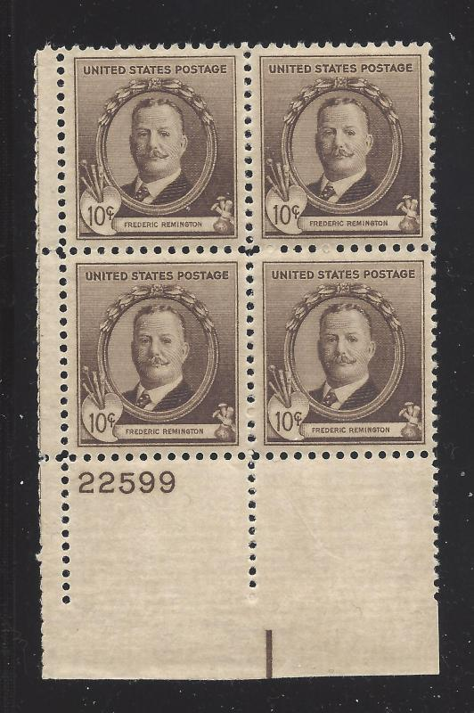 888 1940 10c FAMOUS ARTISTS - REMINGTON PB #22599 LL MNH CV:* $45.00 - LOT 178