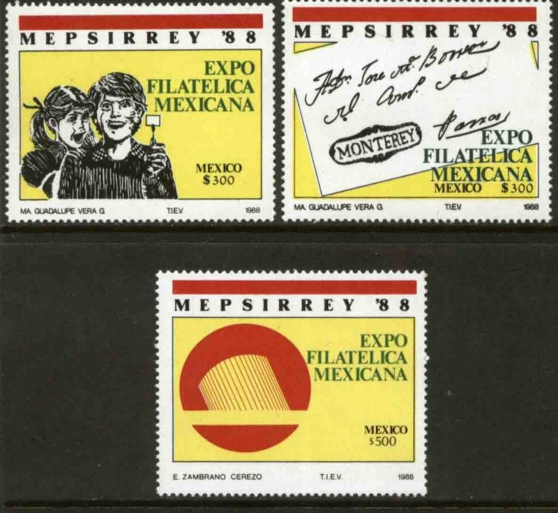 MEXICO 1545-1547, Mepsirrey'88 Exhibition and Convention. MINT, NH. VF.