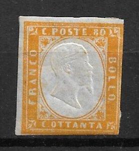 1862 Sardinia 14 80c King Victor Emmanuel II MH OG
