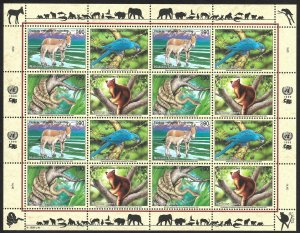 Doyle's_Stamps: 1999 U.N. Endangered Species Sheet Set