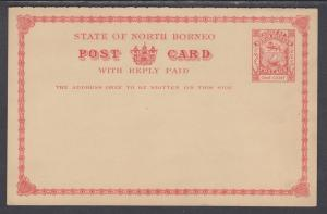 North Borneo H&G 10 mint 1894 1c Postal Reply Double Card, F-VF