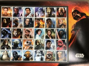 2019 Star Wars Great Britain Complete Stamp Set of 30 MNH