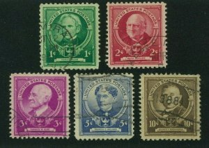 US 1940 Famous Americans:  Educators, Scott 869-873 used, Value = $2.10