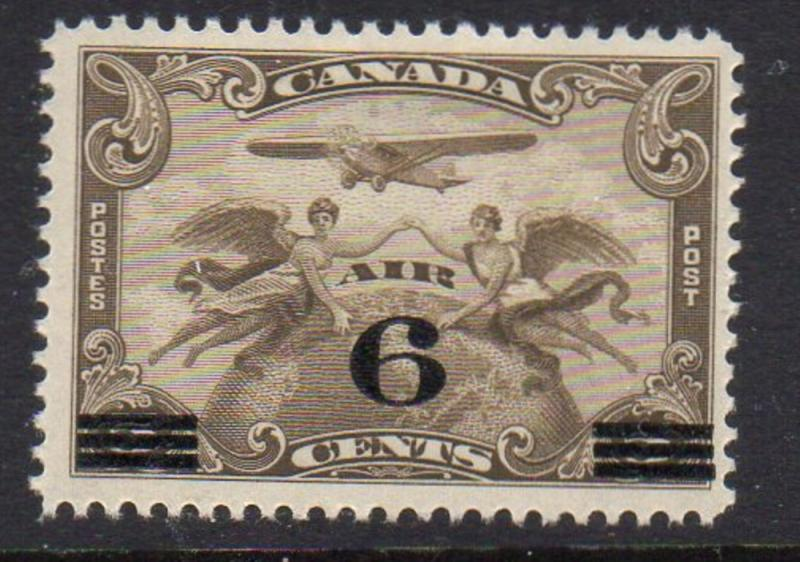 Canada Sc C3 1932 6c ovpt on 5 cent  airmail stamp mint