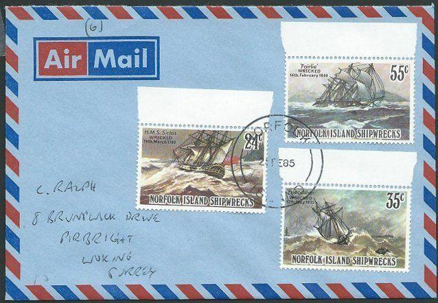 NORFOLK IS 1985 airmail cover to UK........................................40891