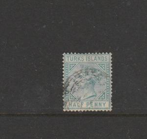 Turks islands 1882/5 1/2d Blue Green Used, SG 53, see note