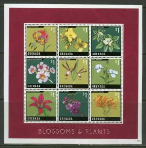 GRENADA  BLOSSOMS  AND PLANTS  SHEET  MINT NH