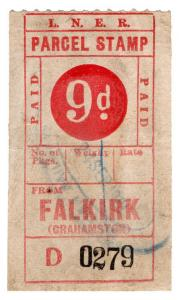 (I.B) London & North Eastern Railway : Parcel Stamp 9d (Falkirk)