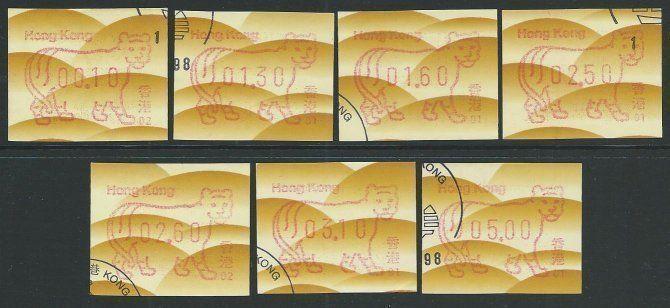 HONG KONG 1998 Year of Tiger ATM Frama set used............................51109