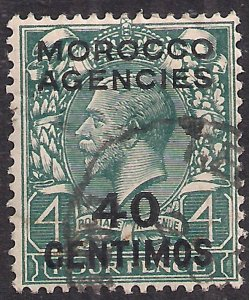 Morocco Agencies 1914 - 26 KGV 40cm on 4d Grey Green used SG 134 ( R659 )
