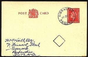 GIBRALTAR 1961 GB postcard GIBRALTAR / PAQUEBOT cds..................98290