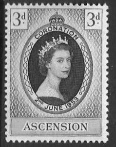 ASCENSION SG56 1953 CORONATION MTD MINT