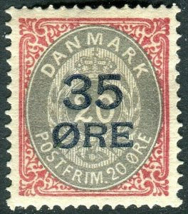 DENMARK- 1912 35 on 20 Grey & Carmine Perf 14X13½ Sg 132 MOUNTED MINT  V36670