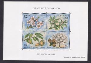 Monaco  #1852  MNH  1993  sheet life cycle of an almond tree