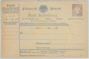 66771 - GERMANY BAYERN - Postal History - STATIONERY  CARD: Military Money Order
