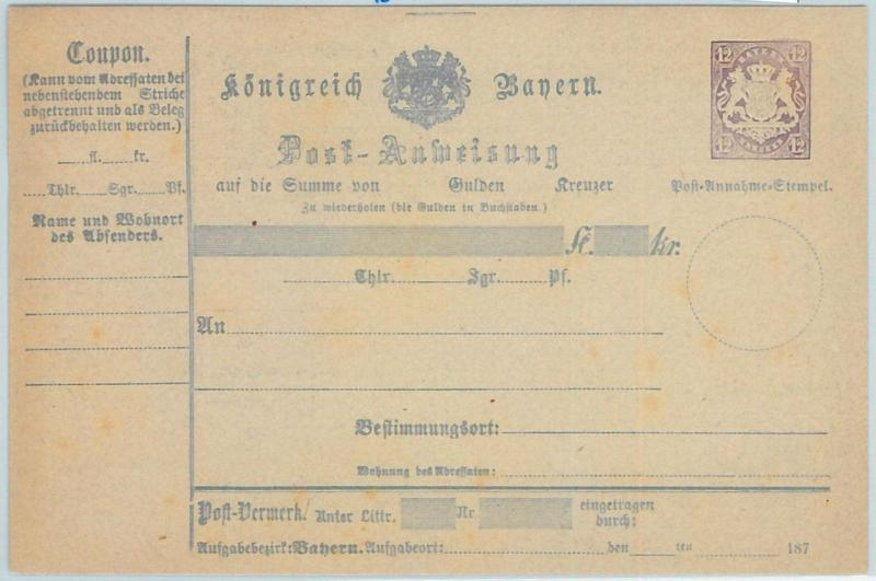 66771 - GERMANY BAYERN - Postal History - STATIONERY  CARD: Military Money Order