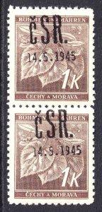 BOHEMIA & MORAVIA 51 PAIR FALKNOV 1945 OVERPRINT OG NH U/M F/VF+