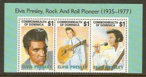 Dominica #1544 NH Elvis Presley (Strip of 3)