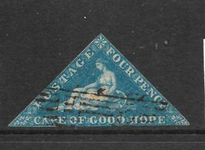 CAPE OF GOOD HOPE 1853  4d   DEEP  BLUE    IMPERF  FU   SG 2