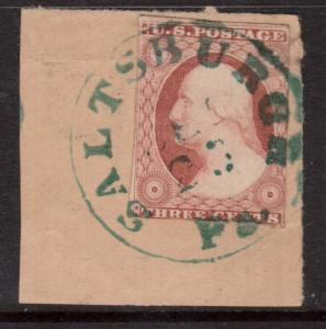 USA #11a Used With Saltsburgh VA Cancel On Piece