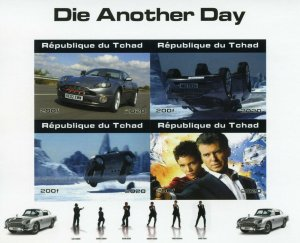 Chad James Bond Stamps 2020 MNH Die Another Day Pierce Brosnan Cars 4v IMPF M/S