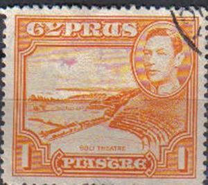 CYPRUS, 1938, used, 1pi. orange. King George VI, Roman theatre, Soli
