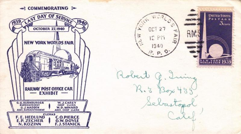 U.S. Cover: World's Fair Last Mail Service Day, Oct 27, 1940 (S10640)