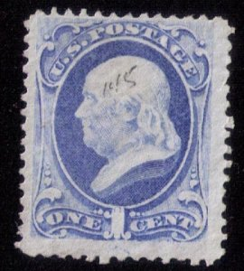 US Sc #145 Unused MNG 1c Gray Blue FranklinNumber Cancelled F-VF Cat.$750.00