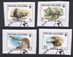 Macedonia # 206a-d, WWF - Imperial Eagle, Used on paper