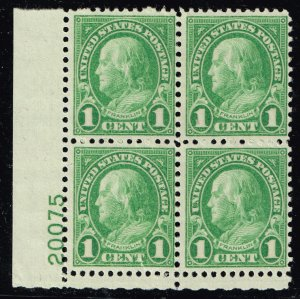 US STAMP #632 – 1926-28 1c Franklin, green MNH/OG PL# BLK OF 4