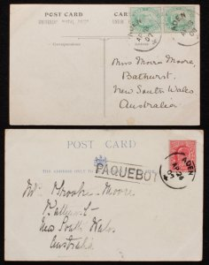 ADEN : 1907-25 Shipmail use postcards. Germany, GB, India. (4)