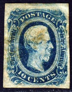 CONFEDERATE STATES 1863 10c. Greenish-Blue IMPERFORATE Die B SG 13c VFU