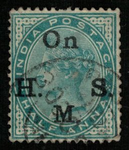 India, Half Anna, 1883, Overprinted On H. S. M. SC #022 (T-6714)