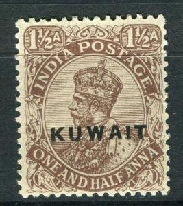 KUWAIT; 1923-24 early GV India Optd. issue Mint hinged 1.5a. value