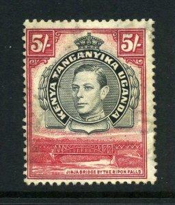 KUT 1938 KGVI 5/- perf 13¼x13¾ SG 148b mint CV £50. Kenya Uganda Tanganyika