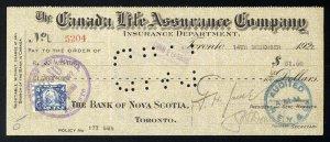 C3 Canada Life Assurance Co. bank draft, 1922, revenue stamp Van Dam #FWT10