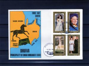 Dhufar (Oman Immamate State) 1980 Queen Mother Birthday Shlt(4)Imperf. FDC