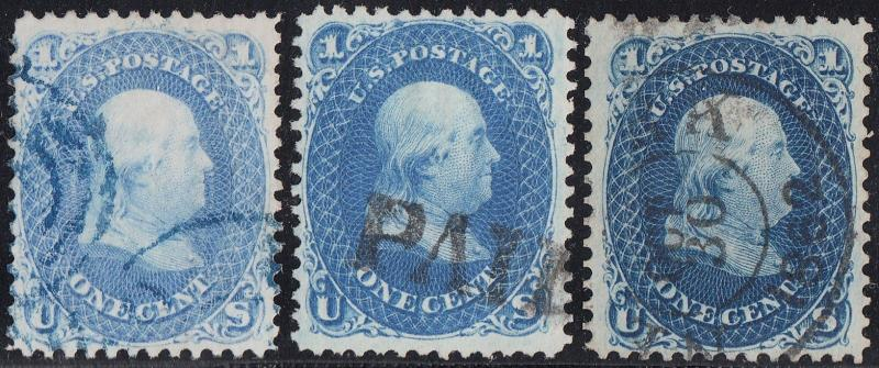 #63a,b (3) DIFF. COLORS BLUE PAID CANCEL WITH (2) PSE CERTS CV $1,107.50 HV6282