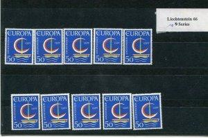 D093767 Europa CEPT 1966 Symbolic Sailboat Wholesale 10 Series MNH Liechtenstein
