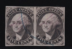 9X1 Pair VF with PF cert. used blue cancel nice color cv $ 1450 ! see pic !