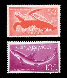 SPANISH GUINEA SCOTT #B31-B32 SEMI-POSTAL ⭐ SEA TURTLE/SHARK ⭐ MNH-OG 1954